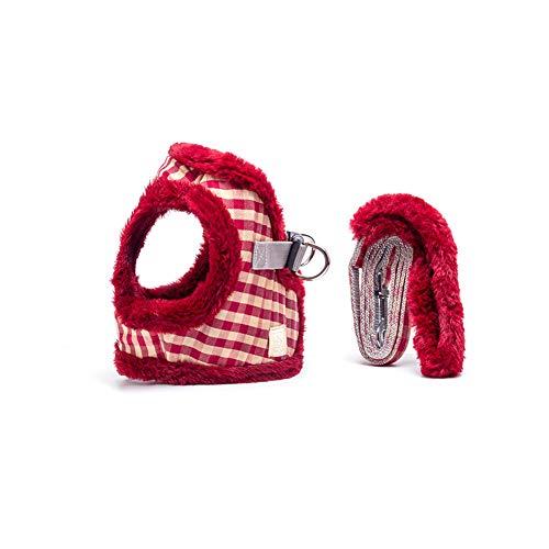 Ice con Haustier-Kabelstrang-Leine-Set, Winter Soft Plus Samtverdickung Warme Justierbarer Haustier-Weste-Harness Mit Reflective-Nachtlicht-Streifen Für Small Medium Large Hunde Kaninchen,D,M