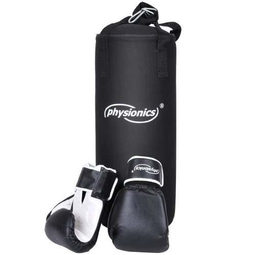 Kinder Boxsack-Set - mit Boxhandschuhen 8oz, Gefüllt, Ø25 cm, H60 cm, Gewicht 8.7kg, inkl. Karabinerhaken, für Junior Training - Sandsack, Kickboxen, MMA, Kampfsport, Muay Thai, Punching Bag
