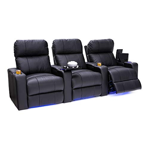 Seatcraft Julius Big & Tall 400 lbs Capacity Home Theater Seating Leather Power Recline with Adjustable Powered Headrest, USB Charging Port, and Lighted Cup Holders and Base, Black, Row of 3