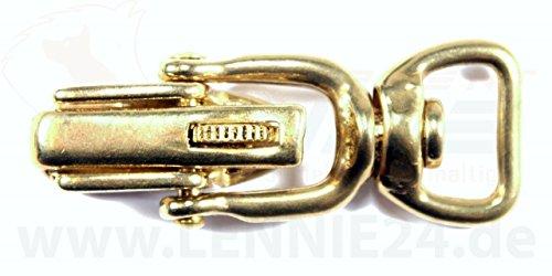 LENNIE 1x Jagdhaken, Messing massiv, gerader Drehwirbel, Sicherung, ohne Bügel, Größe: 20 mm (3/4