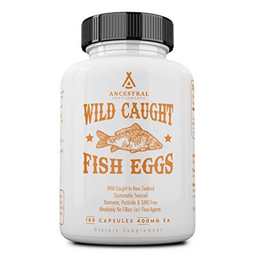 Ancestral Supplements Wild Caught Fish Eggs — Supports Brain, Heart, Fertility and Inflammation (180 Capsules)