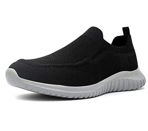 TIOSEBON Zapatillas sin Cordones para Hombre Zapatillas de Tenis de Deporte Ligeras Casuales para Correr y Caminar 42 EU Negro/Gris