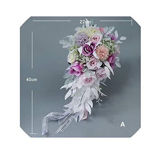LiGHT-S Braut Hochzeit Blumenstrauß Blumen-Qualitäts-künstliche Blumen-Bouquet Silk Rose Hydrangea-Hochzeit Wasserfall Bouquets, A