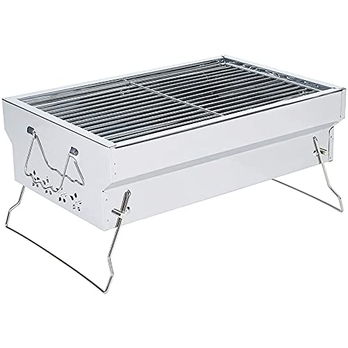 Charcoal Grill Portable Charcoal Grill Folding BBQ Grill Stainless Steel Hibachi Grill for Tabletop Camping Grill Charcoal Small Grill for Outdoor Barbecues, Picnic, Cooking