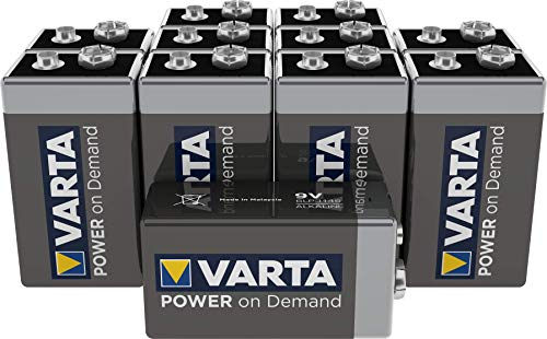 VARTA Power on Demand 9V Block - 10er Pack - für den mobilen Endkonsumenten – z.B. für Smart Home Geräten, Rauchmelder, Brandmelder – MADE IN GERMANY