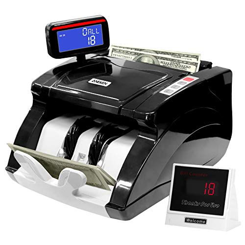 Money Counter Machine, US Dollars/Euros Bill Counter with UV/MG/IR Counterfeit Detection, Cash Counting Machine with 2 LED Screen Display, ADD/BAT Modes, High Speed 1,000 Bills/Min - 2 Years Warranty
