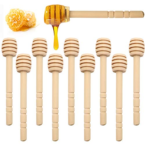 WYBG 10Pcs Honey Dippers Sticks, Wood Honey Dippers, Honey Stirrer for Honey Jar Dispense Drizzled Honey 4 Inch, Individually Wrapped