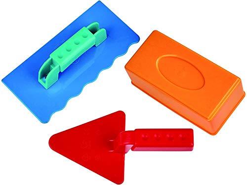 H-ape Sandspielzeug Maurermeister-Set, 3-teilig Sandform, Maurerkelle, Putzkelle, Strandspielzeug