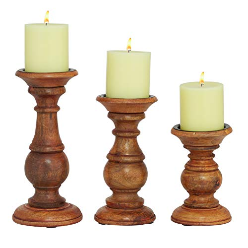 "Deco 79 51536 Wood Candle Holder (Set of 3) 10"", 8"", 6"" H"