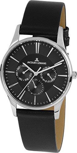 Jacques Lemans Unisex Analog Quarz Uhr mit Leder Armband 1-1929A