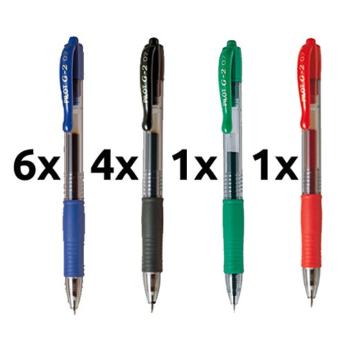 Boligrafo pilot g2 pack 12 u.(6 azules,4 negros,1 rojo,1 verde)