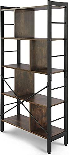 Libreria Stile Industriale 4 Ripiani Scaffale Divisorio Telaio in Ferro Marrone 79 x 30 x 155 cm