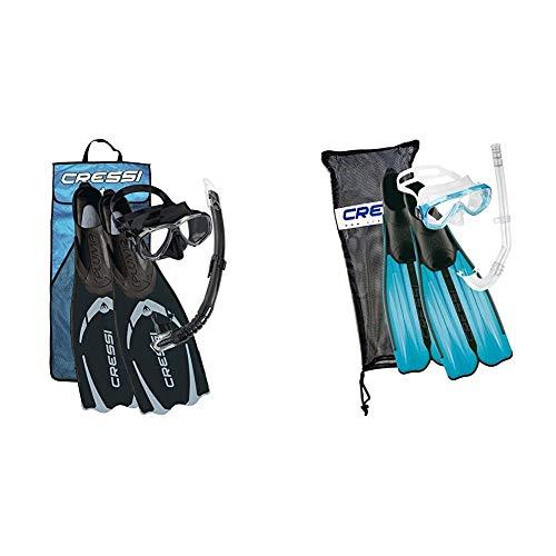 Cressi Pluma Pack de Snorkel, Unisex, Negro/Gris, 41/42 + Rondinella Bag Set - Juego de Snorkel, Color Turquesa, 37/38