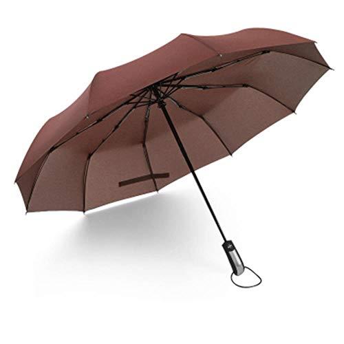 wjjjeremy Windabweisender, klappbarer, automatischer Regenschirm für Herren Großer, winddichter Luxusregenschirm für Damen Regenschirm für Herren Sonnenschirm, Kaffee, Russische Föderation