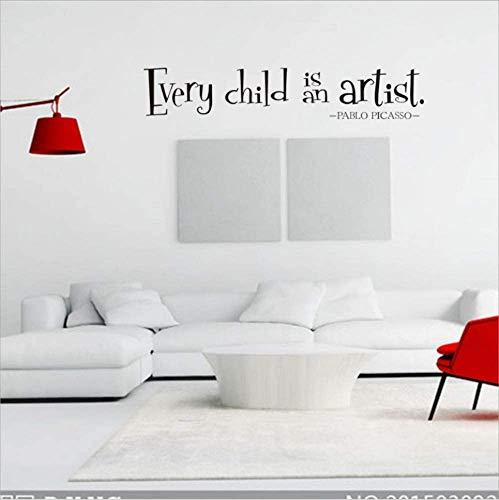 Jedes Kind Ist Ein Künstler Englisch Alphabet Wandaufkleber 13 * 42Cm * 2Pcs