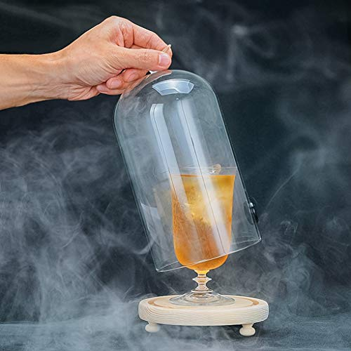 GaoYunQin Ahumador de Alimentos Pantalla de Cristal Cúpula Cloche para Fumar Bebidas con Base de Madera, Cócteles Comida Infusor de Humo Accesorio, Campana de Campana de Vidrio, 24 Cm X 15,5 Cm