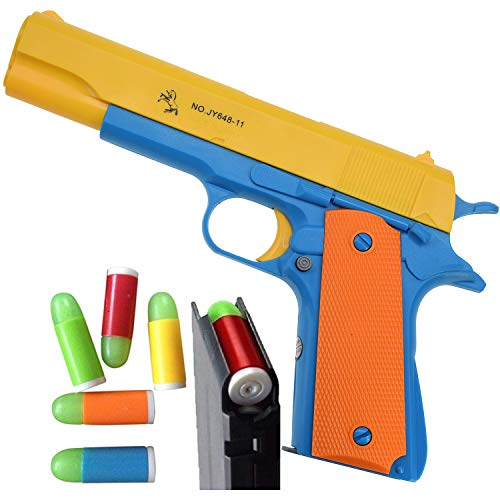 Feisuo Blasters Foam Play Toys Gun-Colt 1911 Toy Gun with Soft Bullets and Ejecting Magazine. Actual Size of M1911 for Training or Play