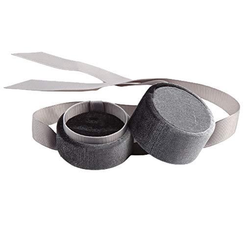 Yosemite Organizador de joyas redondo con lazo de pana, caja pequeña y exquisita caja de almacenamiento para anillos, pendientes, cuello, caja de anillo gris