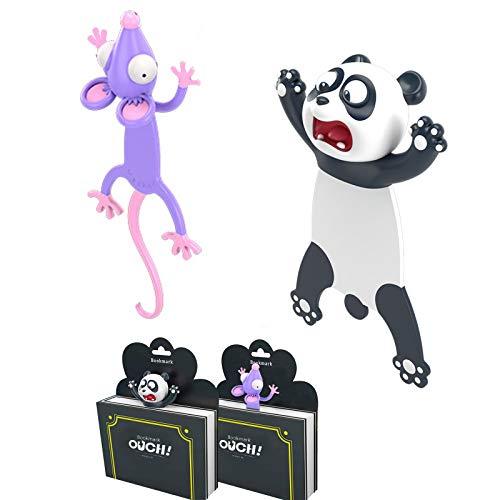 2 Stück Tier Lesezeichen Set, 2 x 3D Cartoon Koawi Lesezeichen und 2 x Lesezeichen Magnetisch Lustiges Geschenk für Kinder, Erwachsene,Schüler