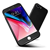 ORETECH iPhone 8 Plus Case, 7 Plus 360 Full Body Hard PC Case with[2 x Tempered Glass Screen Protector] Ultra-Thin Lightweight Shockproof and Anti-Scratch Case for iPhone 7 Plus/8 Plus -5.5'-Black