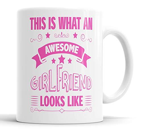 "Taza con texto en inglés ""This is What an Awesome Girlfriend Looks Like humor, broma, regalo para amigos, cumpleaños, Navidad, tazas de cerámica"
