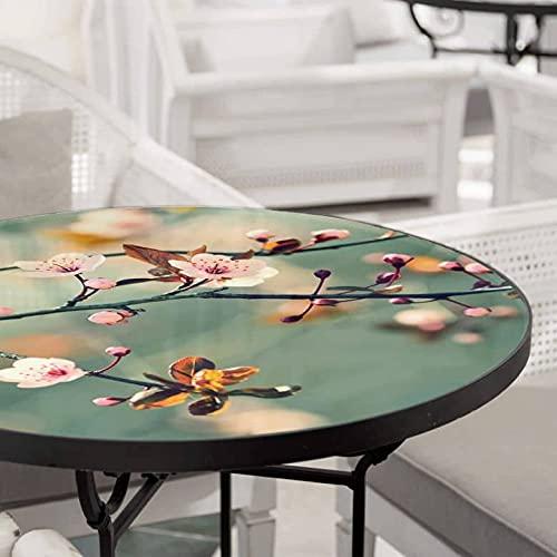 Mesa de cristal con flores, brotes del árbol de la vida, mesa de café, mesa redonda