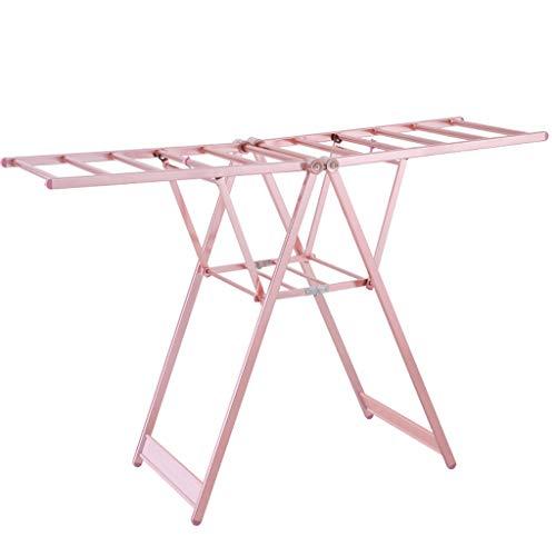 ZXW Tendedero- Riel de aleación de Aluminio Interior y Exterior, Rejilla de Secado Plegable, toallero para pañales, Rejilla de Secado (Color : Pink, Tamaño : 97x130cm)