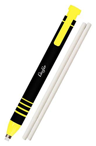 Läufer 69542 Radierstift gelb, inkl. 2 Ersatzradierer, nachfüllbarer Radiergummi, sehr präzise, Blisterkarte enthält 1 Radierstift und 2 Ersatzradierer