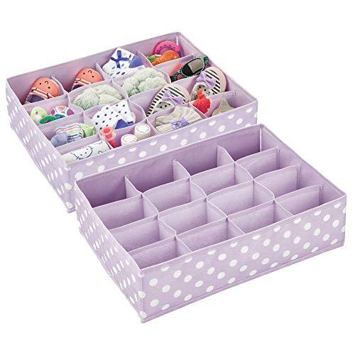 mDesign Juego de 2 cajas para ordenar el cuarto infantil – Organizador de tela a lunares para guardar ropa y ahorrar espacio – Separador de cajones con 16 apartados para cosas de bebé – lila claro