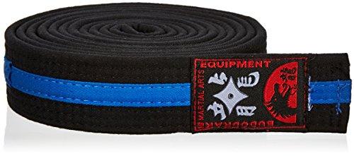 Budogürtel schwarz, Blauer Mittelstreifen (260)