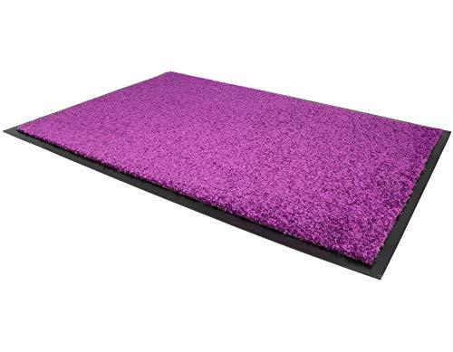 Schmutzfangmatte CONTI – Lila 60cm x 90cm, Waschbare, Rutschfeste, Pflegeleichte Fußmatte, Eingangsmatte, Küchenläufer Matte, Türvorleger für Innen & Außen