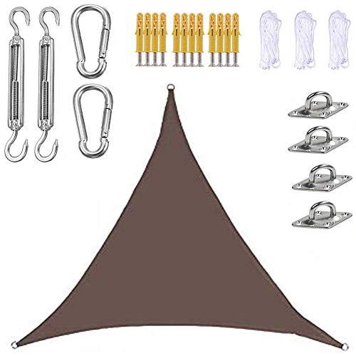 ZzWwYy Sonnensegel Sonnenschutz Dreiecksegel Befestigungs Kit Windschutz mit wasserdicht UV Atmungsaktiv für Garten Balkon Terrasse schattensegel-3X3X3m/9.8'x9.8'x9.8'