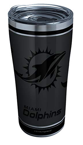 Tervis NFL 100-Miami Dolphins Stainless Steel Insulated Tumbler with Clear and Black Hammer Lid, 20 oz, Silver