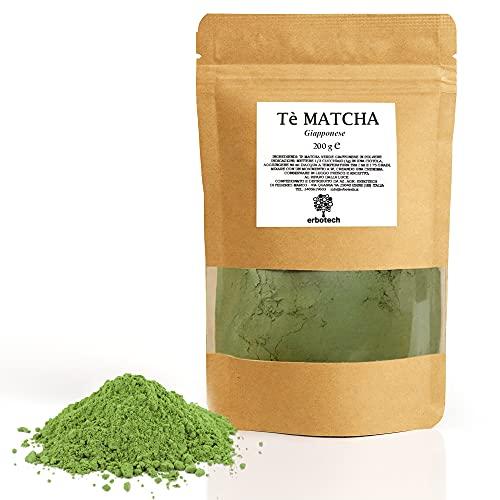 ERBOTECH Te Matcha / Polvo de té verde japonés 200 g, Multivitamínico 100% natural, Vegan, Made in Italy. Ideal para pasteles, batidos, té helado
