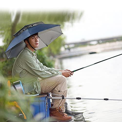 FFYUE Sombrero De Sombrilla De Pesca Transpirable De Doble Capa, Sombrilla De Protección UV En La Cabeza, Sombrilla para Exteriores Y Sombrilla para El Sol