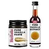 Extracto puro de vainilla y pasta de vaina de vainilla para hornear - las vainas de vainilla Heilala se seleccionan a mano y se obtienen de forma ética en la Polinesia, variedad de bourbon gourmet