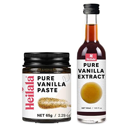 HEILALA - Extrait de vanille pur 50 ml et pâte de gousse de vanille avec graines 65 g - Pack combo vanille pour pâtisserie et desserts