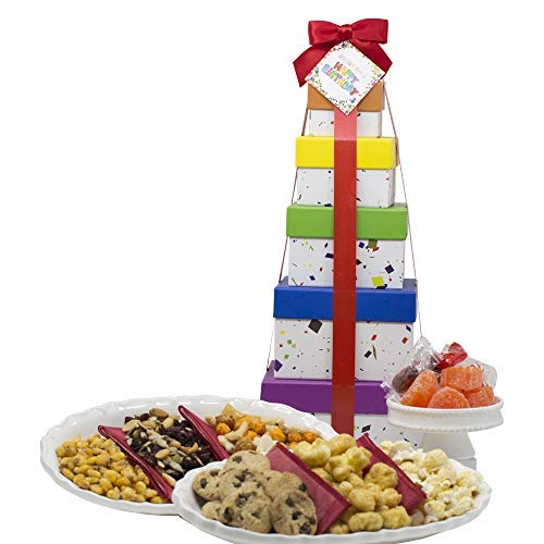 """Birthday Gift Basket Box Tower 16"""" - 6 Tier - For Men and Women"""
