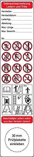 Gebrauchsanweisung für Leitern und Tritte Grundplakette 10 Stück 35 mm x 160 mm Betriebsanleitung Leiterprüfung