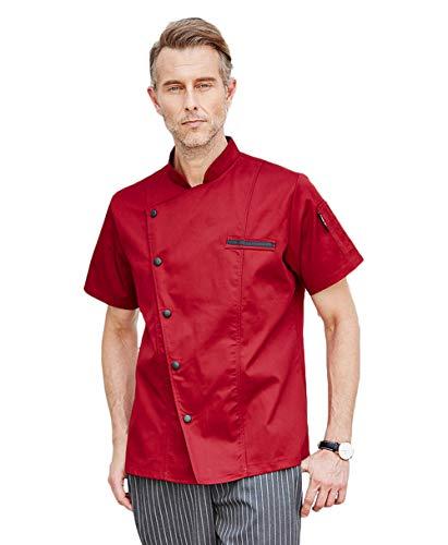 Kookjack met korte mouwen, heren en dames, meerdere kleuren, rood/wit, zwart, grijs, ademend, katoen, eenkleurig, geen verbleken Small rood