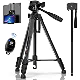 KINGJOY 72' Camera Tripod for Canon Nikon Aluminum Monopod Height 180 cm-Lightweight Stand and Compact for Travel with 3-Way Swivel Head and Quick Release Plates Wireless Remote Shutter Phone Mount