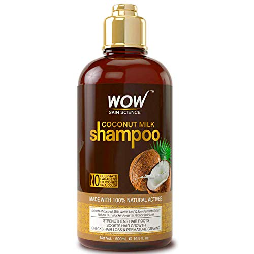 WOW Coconut Milk Shampoo, Slow Down Hair Loss, Grey Hair, Stimulate Growth For Thick, Glossy Hair, Paraben, Sulfate, Salt, Silicone Free, All Hair Types, Adults and Children, 500 mL