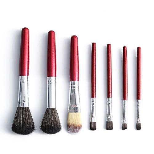 QXX-Make-up Brush Pinceau de Maquillage Set, Nacré poignée en Bois Maquillage de Visage Yeux Outil 7Pcs Portable