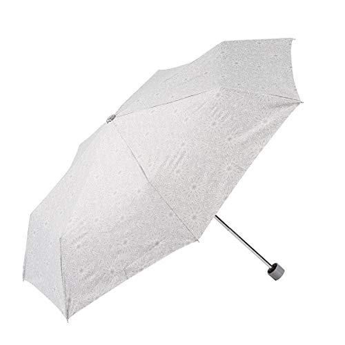 EZPELETA tragbarer Sonnenschirm für Frauen, windfester und kompakter Regenschirm mit UV-Schutz UPF50+, gerader Griff und manuelle Öffnung, Blumenmuster - Grau