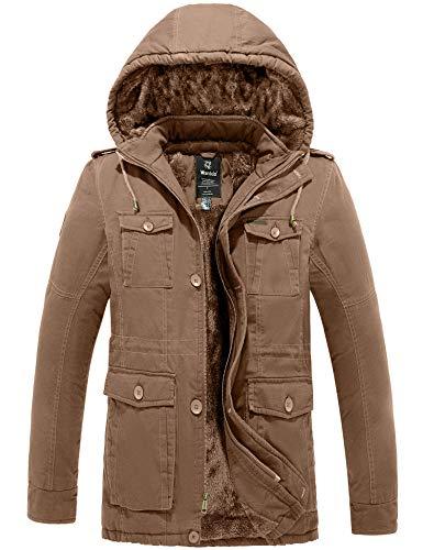Wantdo Men's Thicken Cotton Parka Jacket Hooded Casual Winter Coat(Khaki,L)