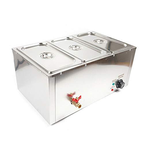SHIOUCY Pfanne Buffet Essen Wärmer Speisenwärmer Wasserbad Buffetwärmer - elektrisch, mit Heizplattenfunktion, 3x7L, Temperaturregler, Edelstahl Warmhaltegerät Speisewärmer