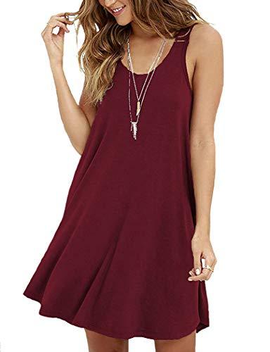 VIISHOW Womens Casual Sleeveless Swing Dress Tunic Tank Top Dresses,Wine Red,XL