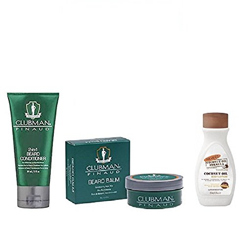 Clubman Beard Balm & 2-in-1 Beard Conditioner with Palmer's Mens Lotion 1.7oz by Clubman