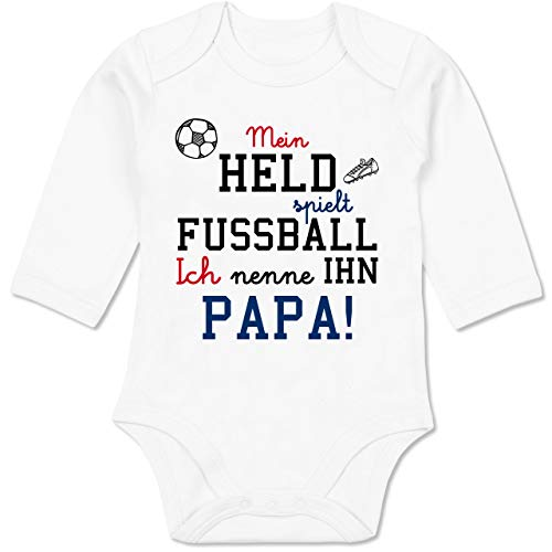 Shirtracer Sprüche Baby - Mein Held spielt Fußball - 3/6 Monate - Weiß - fußball Baby Tshirt - BZ30 - Baby Body Langarm