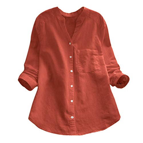 Hffan Damen Bluse V-Ausschnit Langarm Shirt Leinen Einfarbig Lässige Lose Tunika Tops T-Shirt Hemdbluse Große Größen
